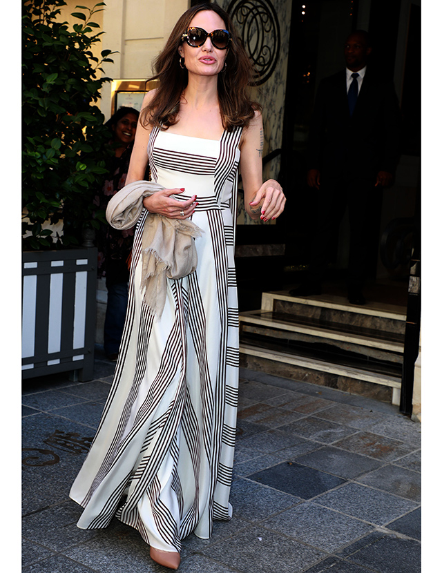 Angelina Jolie dressed in Loro Piana Striped Maxi Dress whilst in Paris