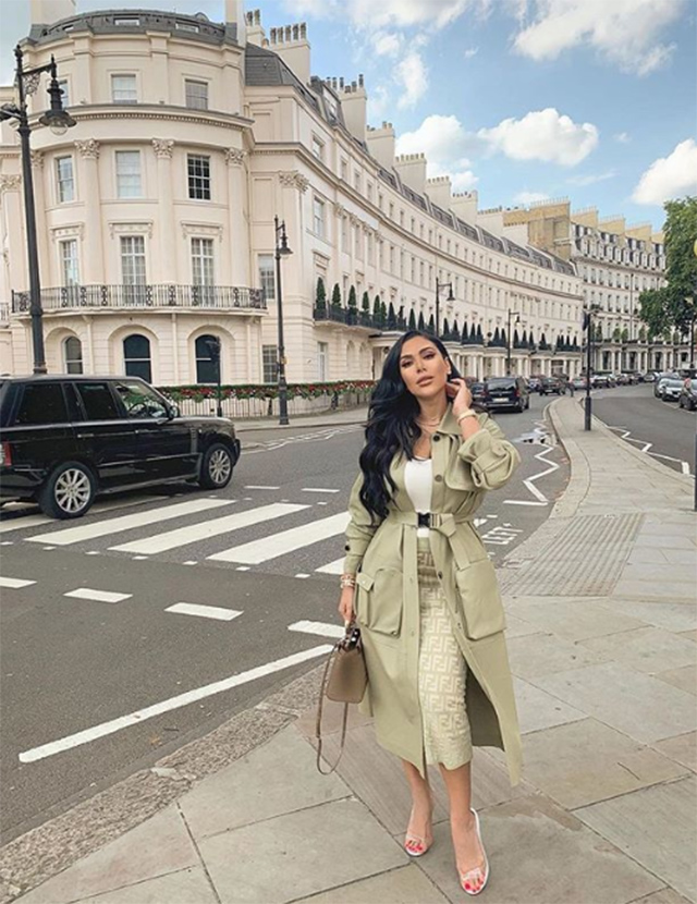 Huda Kattan dressed in Fendi and Alaia whilst spotted in London