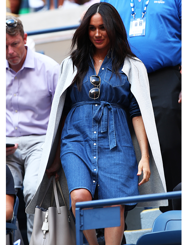 Meghan Markle wears a J.Crew denim dress to support Serena Williams at the U.S. Open