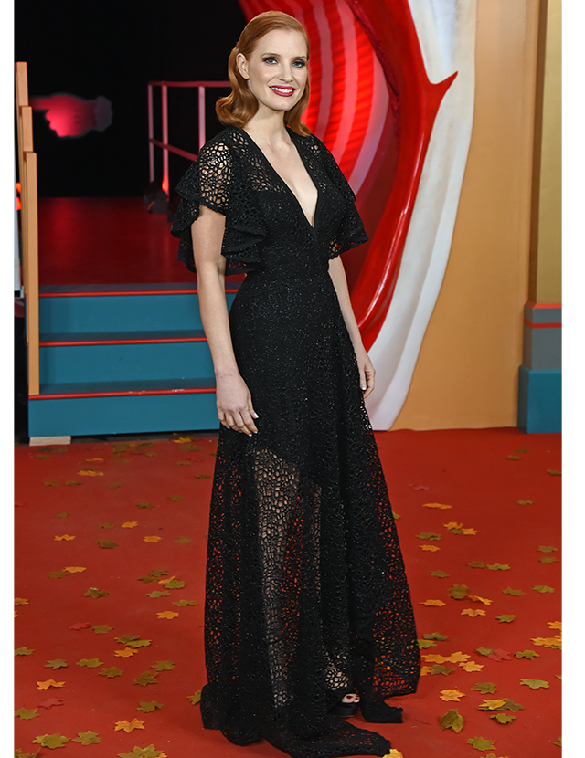 Jessica Chastain wears a black Elie Saab gown for the 'It Chapter Two' press tour in London