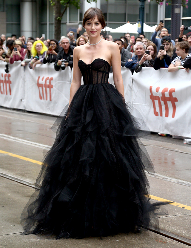 Dakota Johnson wears a Dior ballgown at the Toronto International Film Festival