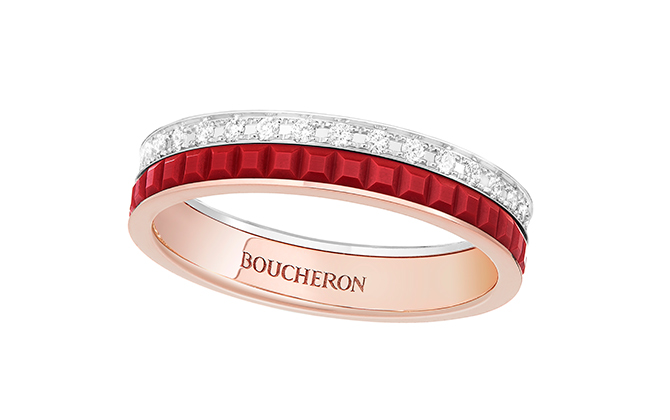 Boucheron wedding band Quatre Red Edition set with red ceramic