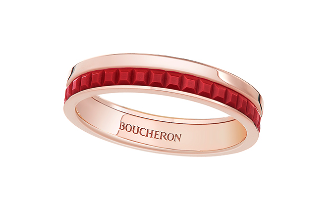 Boucheron wedding band Quatre Red Edition set with red ceramic on PG