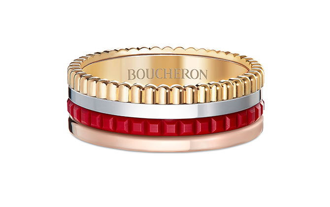 Boucheron Quatre Red Edition ring set with red ceramic
