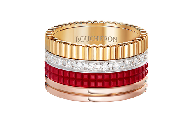 Boucheron Quatre Red Edition L ring paved with diamonds, set with red ceramic