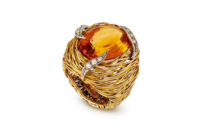 Grima citrine ring in yellow gold and diamonds at Grimajewellery.com