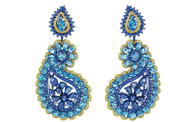 Chopard Red Carpet red carpet topaz and sapphire earrings at Thejewelleryeditor.com