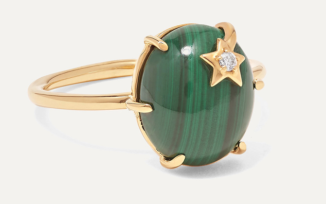 Andrea Fohrman Mini Galaxy 18-karat gold, malachite and diamond ring at Net-a-Porter
