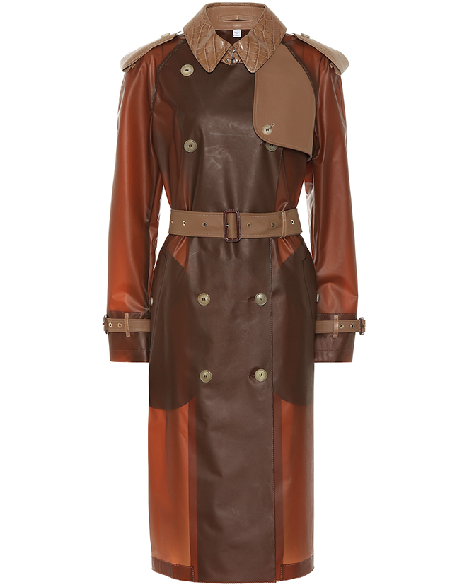 Burberry's leather-trimmed trench coat on Mytheresa