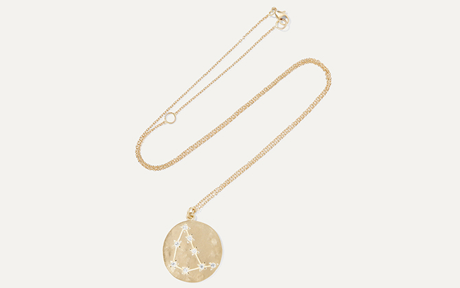 Brooke Gregson Capricorn 14-karat gold diamond necklace at Net-a-Porter
