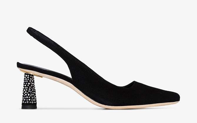 By Far Black Diana 55 suede slingback pumps at Browns Fashion