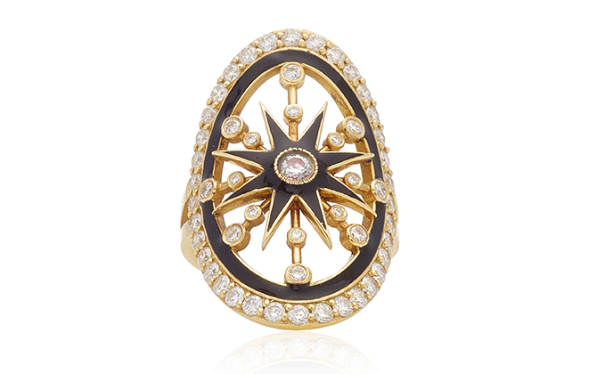 Colette Jewellery enamel star shield ring at Moda Operandi