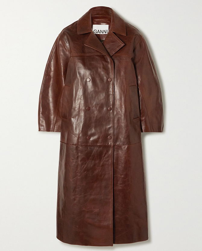 Ganni's oversized leather coat on Net-a-Porter