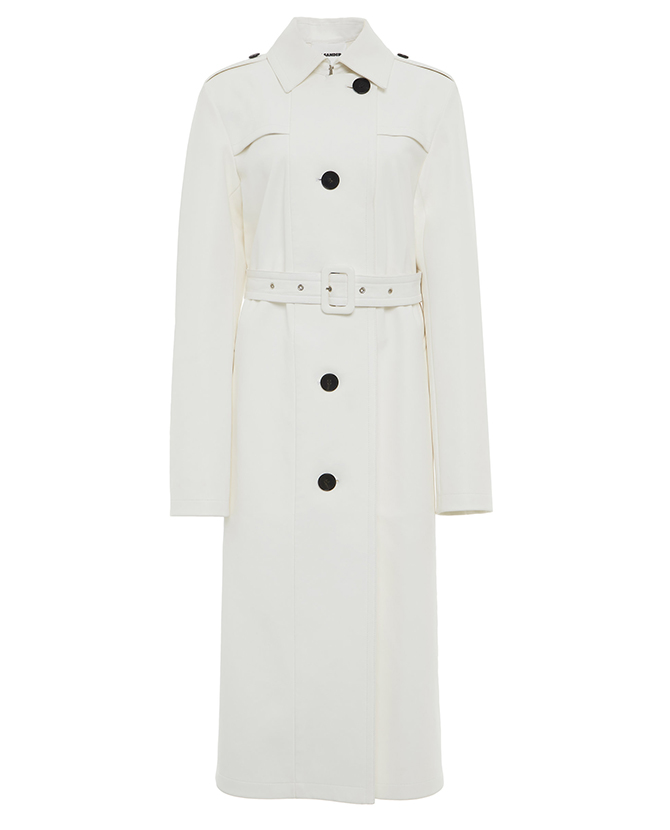 Jil Sander's belted leather trench on Moda Operandi