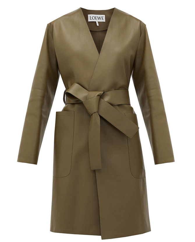 Loewe's V-neck belted leather coat on Matchesfashion
