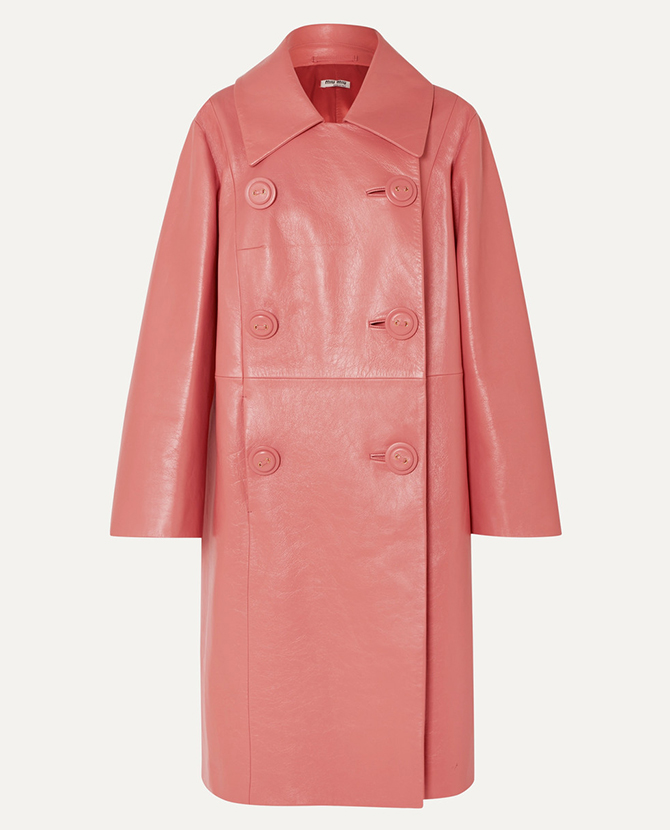 Miu Miu's double-breasted leather coat on Net-a-Porter