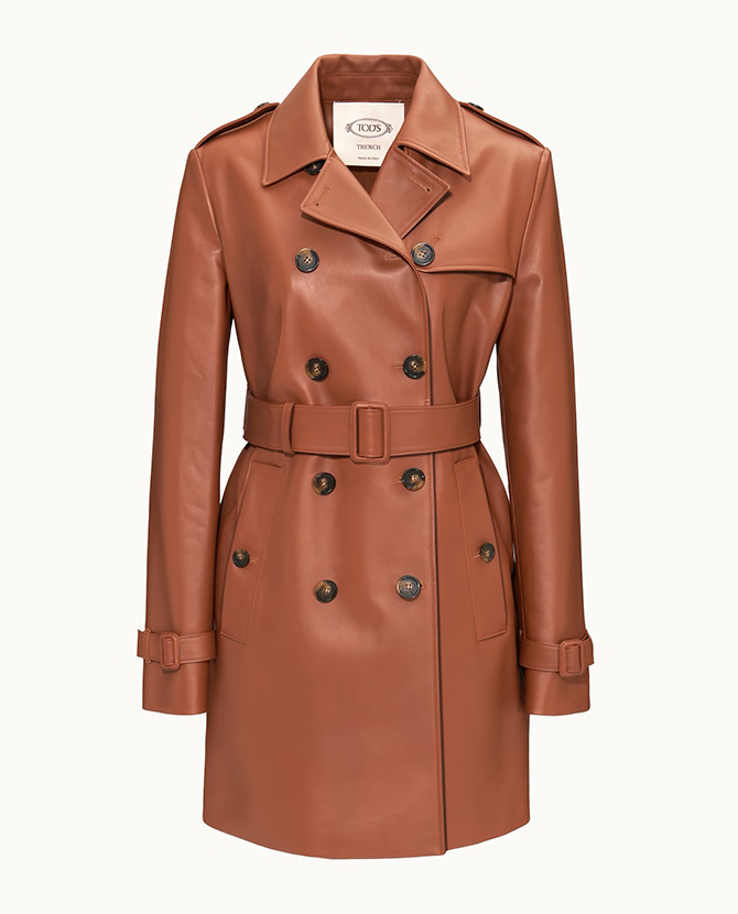 Tod's trench in leather on Tods.com