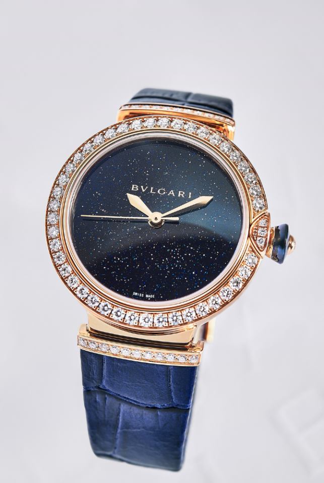 LVCEA Aventurine Watch,33 mm polished rose gold case set with round brilliant-cut diamonds