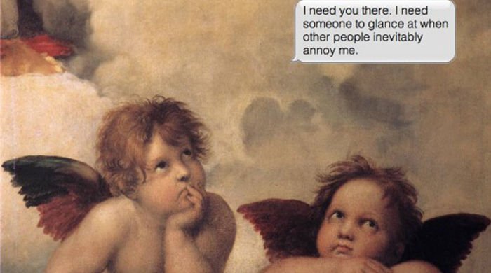 Artist explores what iconic artworks might be saying if they could text