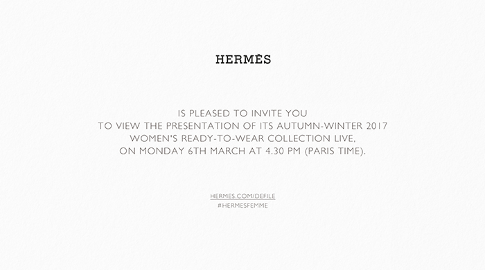 Live: Hermès FW17 Paris Fashion Week