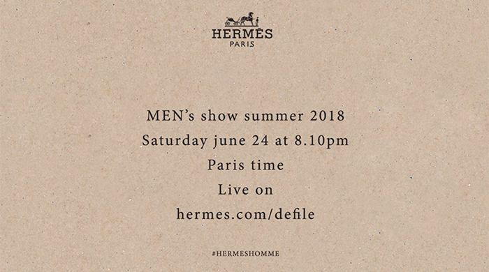Live streaming: Hermès Spring/Summer '18 Men's Paris Fashion Week