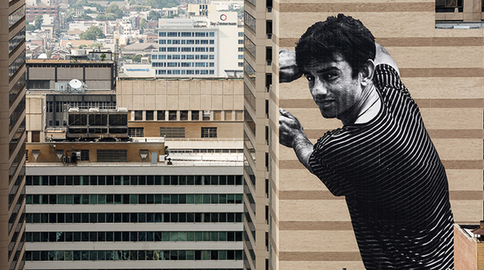 A Pakistani migrant 'Ibrahim' is the subject of a new JR street art mural