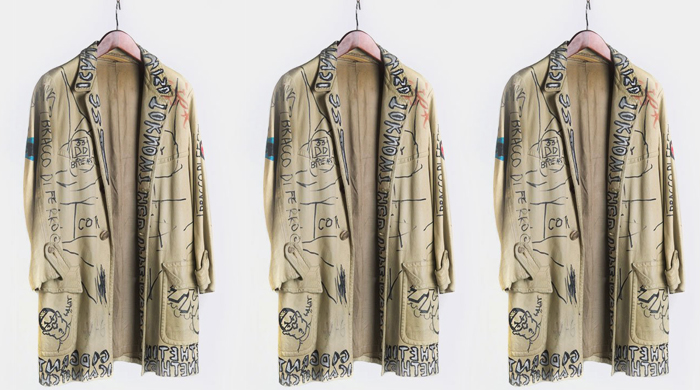 A jacket tagged by Jean-Michel Basquiat and Stephen Sprouse sells at auction