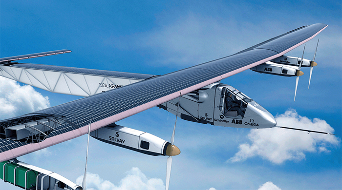 The first solar-powered around-the-world flight prepares to take off in Abu Dhabi