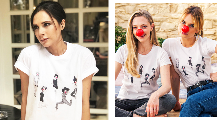 Victoria Beckham designs Spice Girls tee for Red Nose Day