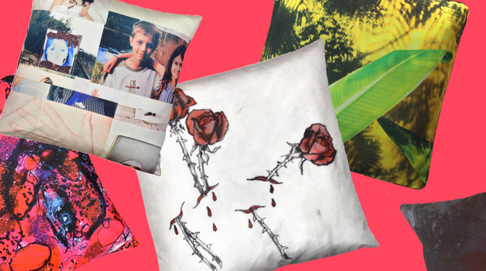 Juergen Teller and Jack Pierson artworks turned into pillows by Henzel Studio