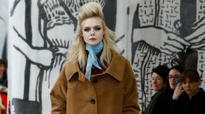 Elle Fanning made her catwalk debut for Miu Miu