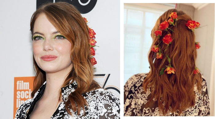 Emma Stone wore real roses in her hair and now we want to wear real roses in our hair