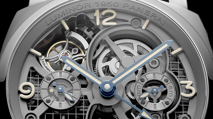 Panerai's exclusive Luminor 1950 Tourbillon GMT Titanio